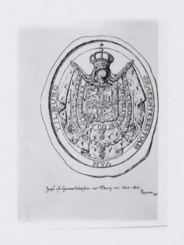 104078 - Tekening. Tekening vervaardigd door A. Lejeune van het zegel/wapen van de gemeente Tilburg 1806-1810.