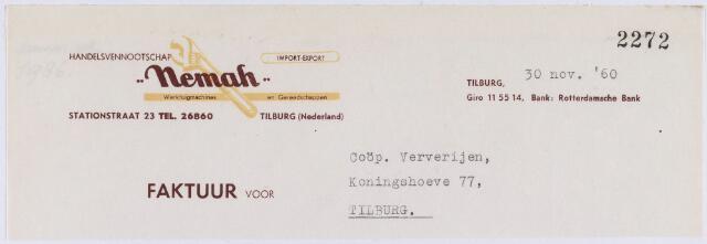 """060814 - Briefhoofd. Nota van Handelsvennootschap """"Nemah"""" , Stationstraat 23 voor Coöp. Ververijen, Koningshoeven 77"""