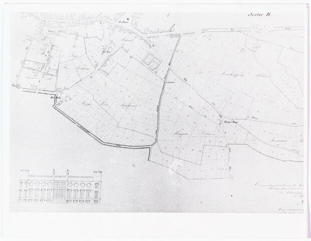 008429 - Kaart. Kaart van J.F. Hutten uit 1835 met kadastrale gegevens van de bezittingen van Koning Willem II in Tilburg (gedeelte van sectie B.)