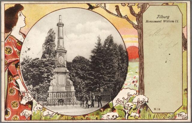 011030 - Gedenknaald voor koning Willem II op de hoek Monumentstraat-Paleisstraat.