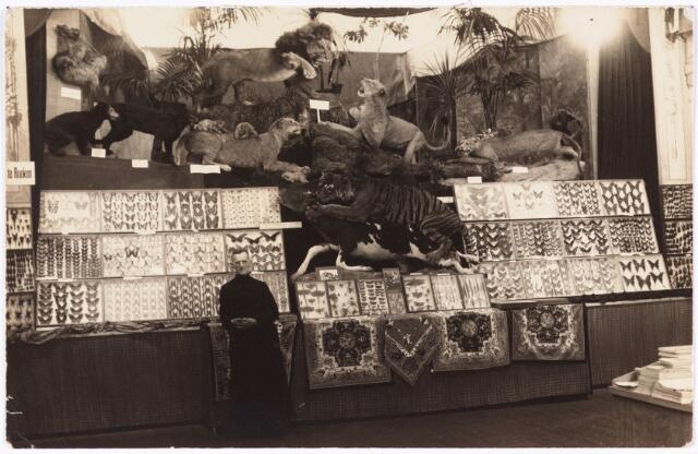 008618 - Vlinders en andere opgezette dieren waaronder een ' Indische koningstijger met buit' op de eerste Tilburgse missietentoonstelling in 1923.