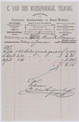 060792 - Briefhoofd. Nota van C. van den Muijsenbergh-Tilburg, magazijnen van ijzerwaren, huishoudelijke- en email-artikelen voor de heer F van Dooren te Tilburg.