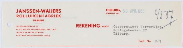 060365 - Briefhoofd. Nota van Rolluikenfabriek- Tilburg, Janssen-Wayers, Telegraafstraat 50 , voor Coöp. Ververijen, Koninghoeven 77