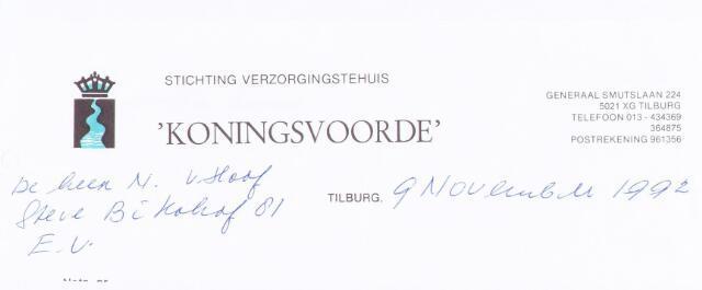 "060511 - Briefhoofd. Briefhoofd van Stichting verzorgingstehuis "" Koningsvoorde"",  Generaal Smuslaan 224"