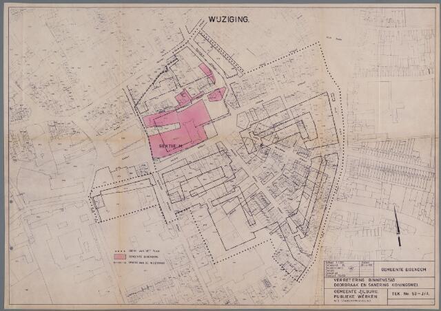 059434 - Kaart. Wederopbouw. Bestemmingsplan. Doorbraak en sanering Koningswei, wijziging 1963,  i.v.m. bouwplan nieuw stadhuis