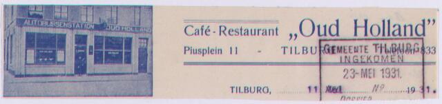 "060861 - Briefhoofd. Briefhoofd van Café-Restaurant ""Oud Holland"", Piusplein 11"