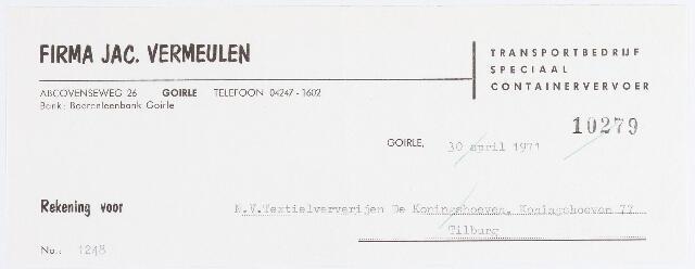056271 - Briefhoofd. Briefhoofd transportbedrijf firma Jac. Vermeulen, Abcovenseweg 26, Goirle.