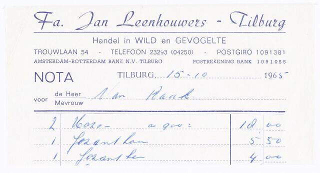 060558 - Briefhoofd. Nota van Fa. Jan Leenhouwers-Tilburg, handel in  wild en gevogelte, Trouwlaan 54 voor van Raak.