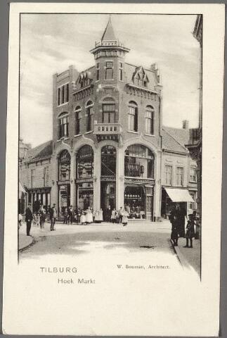 010233 - Heuvelstraat hoek Oude Markt. Op deze hoek de zaak van 'heeren confectie' Drijver & Cie. Het pand werd ontworpen door architect W. Bouman en vertoont kenmerken van de Jugendstil.