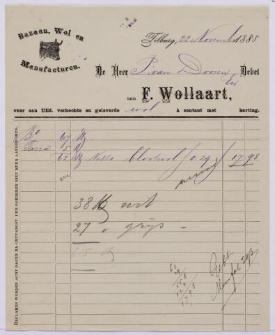 061442 - Briefhoofd. Nota van F. Wollaart, bazaan, wol en manufacturen voor P van Dooren te Tilburg
