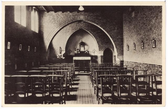 001418 - Interieur van de kapel der retraitanten in het retraitehuis en klooster van O.L.V. van het Cenakel aan de Koningshoeven, nu Kempenbaan.