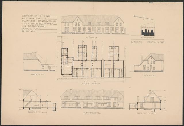 652482 - Bestektekening voor de bouw van zes arbeiderswoningen  aan de Trouwlaan: gevels en plattegronden.