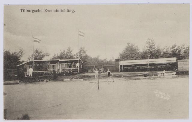 """049267 - Het eerste Tilburgse zwembad lag op het grondgebied van Berkel-Enschot. Het werd op 1 juni 1909 geopend als """"Tilburgsche Zweminrichting 't Baksche Ven."""""""