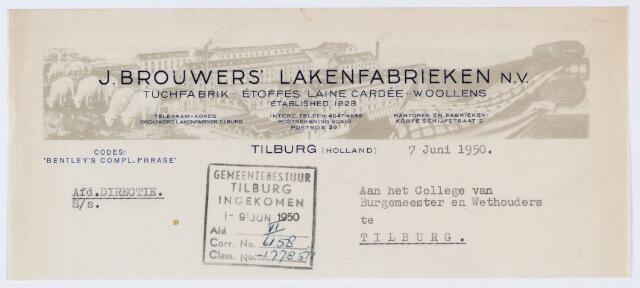 "059781 - Briefhoofd. Briefghoofd van J. Brouwers"" Lakenfabrieken N.V., Korte Schijfstraat 2"