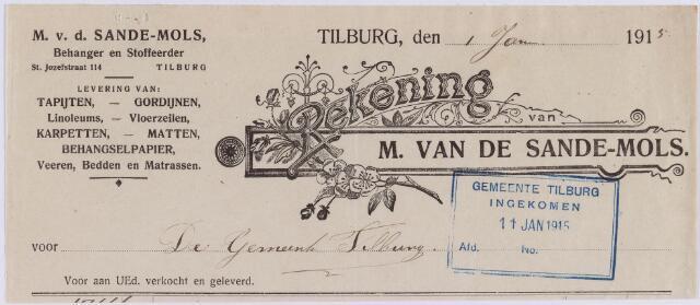 061022 - Briefhoofd. Nota van M. van de Sande-Mols, behanger en stoffeerder, St. Jozefstraat 114 voor de gemeente Tilburg