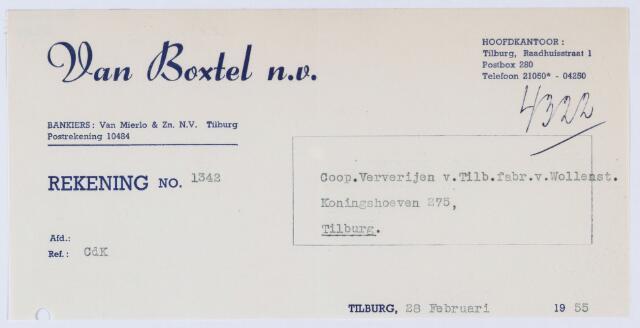 059690 - Briefhoofd. Nota van  van Boxtel N.V., Raadhuisstraat 1, voor Coöp. Ververijen, Koningshoeven 275, later 77