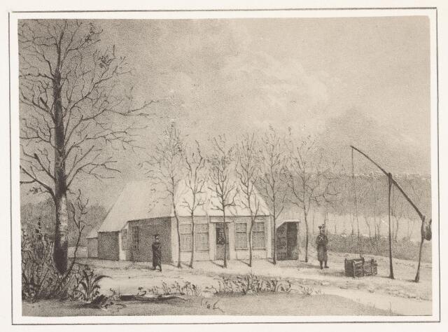 """027351 - Tekening. """"De Nachtegaal"""", wachtpost. Eind Enschotsestraat - Koestraat."""