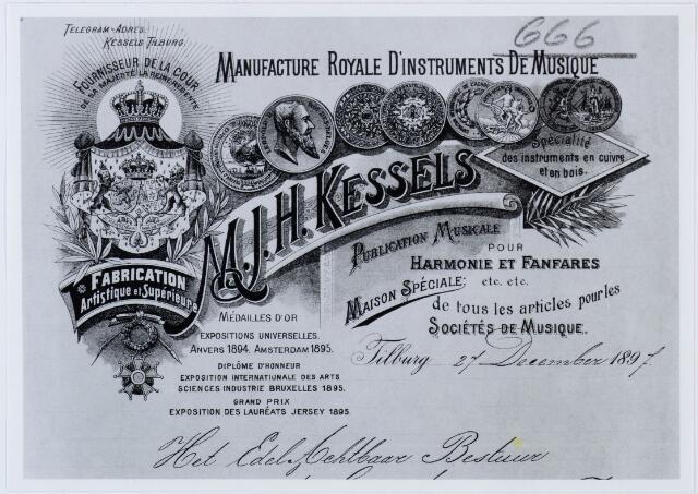060445 - Briefhoofd. Briefhoofd van M.J.H. Kessels, Artistieke fabrikatie van koperen en houten blaasinstrumenten, strijkinstrumenten enz. enz.