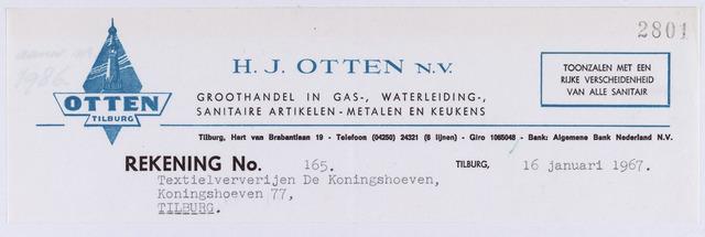 060860 - Briefhoofd. Nota van H.J. Otten N.V.,  groothandel in Gas-, Waterleiding-, sanitaire artikelen, metalen en keukens, Hart van Brabantlaan 19 voor Coöp. Ververijen Koningshoeven