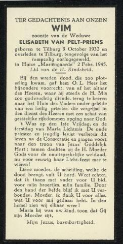 604450 - Mariëngaarde. Bidprentje. Tweede Wereldoorlog. Oorlogsslachtoffers. Wilhelmus Joannes van Pelt; werd geboren op 9 oktober 1932 in Tilburg en overleed op 2 februari 1945 in Tilburg.  Op vrijdag 2 februari 1945 stortte om om vier minuten voor negen een vliegende bom (V-1) neer achter nummer 4, Burgemeester Van Meursstraat en vlakbij de keuken en de kapel van het pension Mariëngaarde. Er werden 22 doden te betreuren, 19 zwaar gewonden en ongeveer 100 lichtgewonden.
