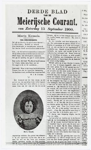 007203 - Fragment van een herdenkingsartikel over Maria Kessels. Slechts bij hoge uitzondering plaatsten kranten in die tijd foto´s. Het herdenkingsgedicht is van de hand van H.J.M. Donders. Meierijsche courant 15 september 1900.
