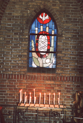 654007 - Interieur Sacramentskerk. Raam.