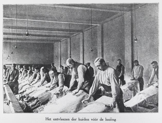 055435 - Lederindustrie. Firma J. Bressers, Eerste Koninlijke Lederfabriek Dongen. Het ontvlezen en ontharen van de huiden voor de looiing.