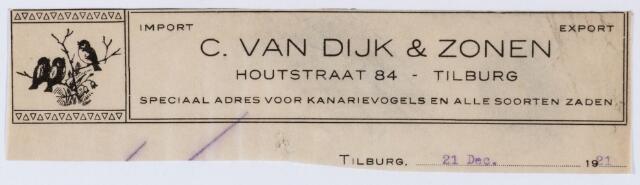 060011 - Briefhoofd. Briefhoofd van C. van Dijk & Zonen, Houtstraat 84, speciaal adres voor kanarievogels en alle soorten zaden