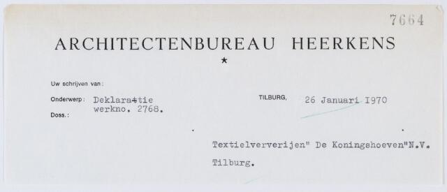 """060258 - Briefhoofd. Nota van Architectenbureau Heerkens, Lourdesstraat 2, voor Textielververijen """"De Koningshoeven""""N.V."""