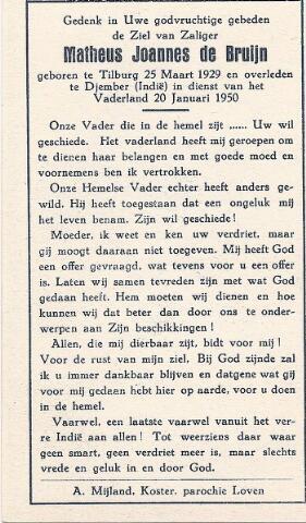 604368 - Tweede Wereldoorlog. Oorlogsslachtoffers. Bidprentje ter nagedachtenis aan Matheus J. de Bruijn, om het leven gekomen in het v.m. Nederlands Indië.