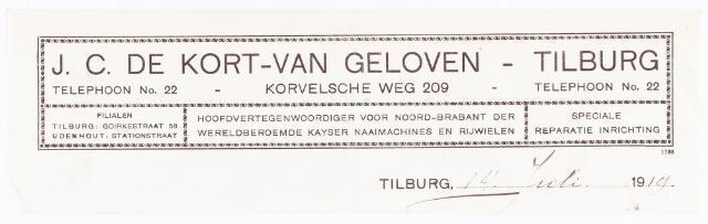 060513 - Briefhoofd. Briefhoofd van J.C. de Kort-van Geloven, Tilburg, naaimachines en rijwielen handel, Korvelscheweg 209