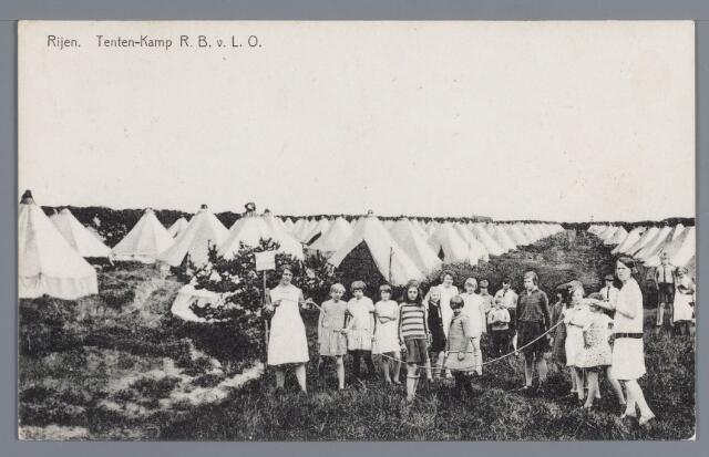 058060 - Rijen, Kamp van de Rotterdamse bond voor lichamelijke opvoeding. Vacantiekamp voor kinderen opgericht in 1924,  Kampbeheerder H.A. Koert.