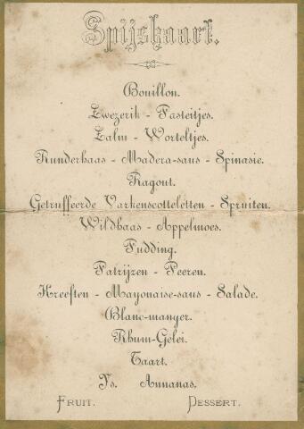 065997 - Menukaart ter gelegenheid van de zilveren bruiloft van Gerardus van Besouw en Johanna van de Lisdonk.