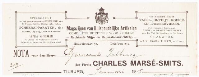 060661 - Briefhoofd. Nota van Charles Marsé-Smits, Tilburg's oudste en meest uitgebreide Magazijn van artikelen voor Huishoudelijk-Gebruik en Ziekenverpleging, Willem-II-straat 120 voor de gemeente Tilburg