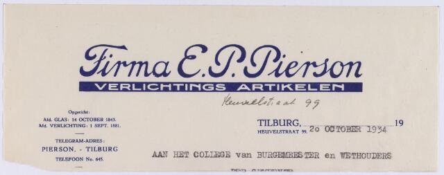 060908 - Briefhoofd. Nota van Firma E.P. Pierson, verlichtings artikelen, Heuvelstraat 99 voor de gemeente Tilburg