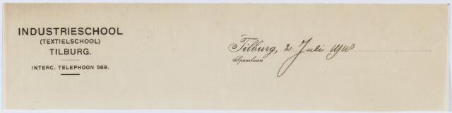 060347 - Briefhoofd. Briefhoofd van Industrieschool (Textielschool ) Tilburg, Spoorlaan