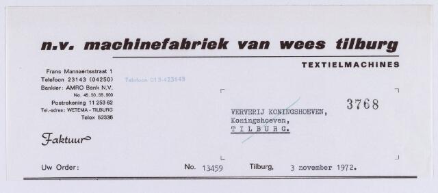 061408 - Briefhoofd. Nota van N.V. Machinefabriek van Wes Tilburg, Frans Mannaertsstraat 1 voor Ververij Koningshoeven, Koningshoeven 77