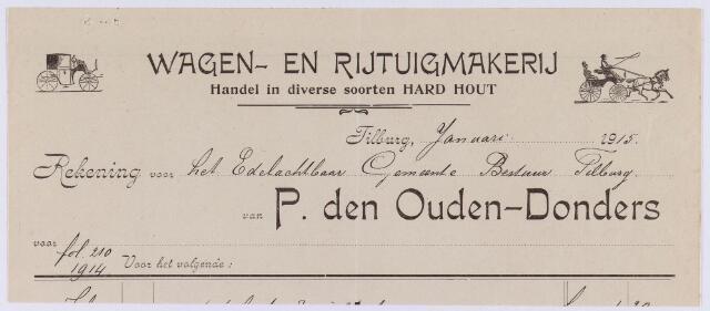 060868 - Briefhoofd. Nota van P. den Ouden-Donders, rijtuig- en wagenfabriek, Noordstraat voor de gemeente Tilburg