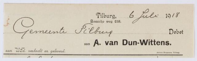 060001 - Briefhoofd. Nota van A. van Dun- Wittens. voor de gemeente Tilburg