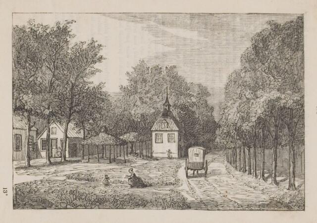 074385 - Het oude raadhuis met de vrijheidsboom op de Lind te Oisterwijk. uit  : Volksalmanak 1858.