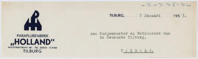 """060307 - Briefhoofd. Nota van de Parapluiefabriek """"Holland"""", Industriestraat 48, voor de gemeente Tilburg"""