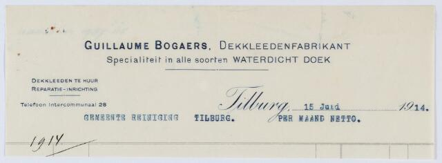 059664 - Briefhoofd. Nota van Guillaume Bogaers Tilburg, Dekkleedenfabrikant voor de gemeente Tilburg