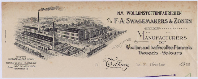 061196 - Briefhoofd. Briefhoofd van N.V. Wollenstoffenfabrieken v/h F.A. Swagemakers & Zonen, Manufacturers of woollen and halfwoollen flannels Tweeds - Velours