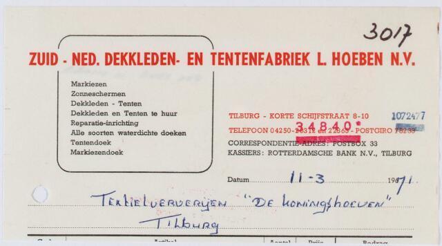 """060293 - Briefhoofd. Nota van Zuid-Ned.Dekkleden- en Tentenfabriek L. Hoeben N.V., Korte Schijf 8-10 voor Textielververijen """"De Koningshoeven"""", Koningshoeven 77"""