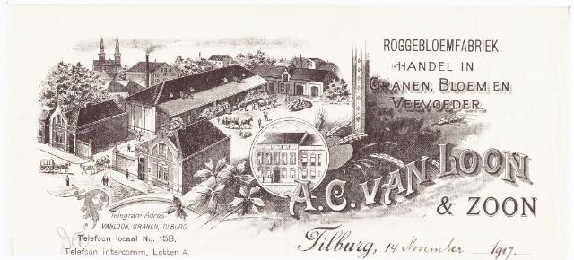 060597 - Briefhoofd. Briefhoofd van Roggebloemfabriek A.C. van Loon, handel in granen, bloem en veevoeder