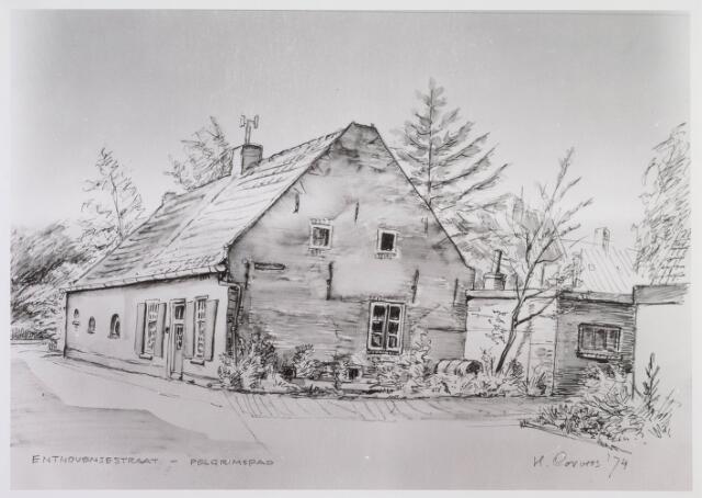 018295 - Tekening. Tekening van een boerderij uit 1866 op de hoek Enthovenseweg - Pelgrimspad.Door H.Corvers.
