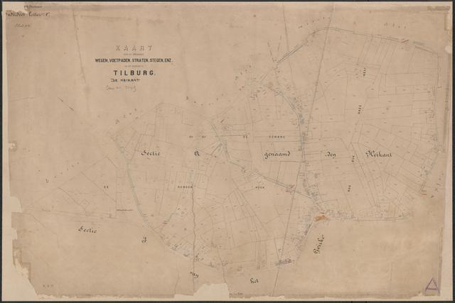652634 - Wegenlegger. Kaart van de openbare wegen, voetpaden, straten, stegen, etc. Tilburg, Sectie A (Heikant), blad 3. Schaal 1:2500. Ongedateerd.