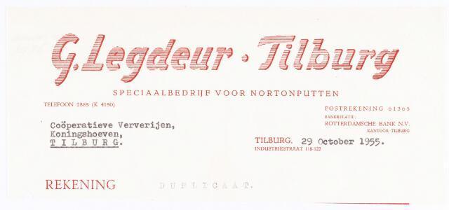060560 - Briefhoofd. Nota van G. Legdeur.Tilburg, speciaal bedrijf voor Nortonputten, voor Coöperatiev e Ververijen, Koninghoeven 77 te Tilburg