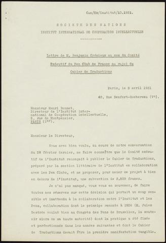 Lettre de M  Benjamin Crémieux au nom du Comité Exécutif du