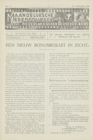 Ledenbulletin en maandelijkse mededelingen 1936-01-25